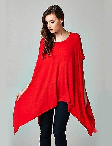 GSP-Damen Kleid - Gespleisst Asymmetrisch Elasthan / Polyester ½ Länge Ärmel Rundhalsausschnitt