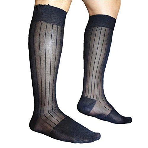 lieomo 100% Nylon Men's 3 pairs Sexy Knee High Long Sheer Socks YF-128 (Sheer Socks Men)