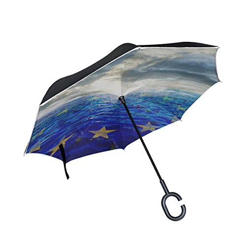 YUMOING Double Layer Inverted Europe Mediterranean Refugees Freedom Eu Umbrellas Reverse Folding Umbrella Windproof Uv Protection Big Straight Umbrella For Car Rain Outdoor With C-shaped Handle by YUMOING