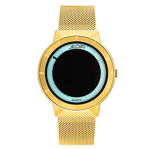 Dial Steel Strap - JEDIR Fashion Men Wrist Watch Exquisite and Concise Analog Quartz Dial with Steel Mesh Strap (Gold)