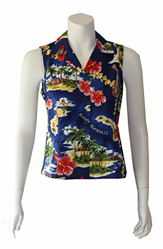 Women's Island Treasure Hawaiian Aloha Sleeveless Shirt (M, Royal) -