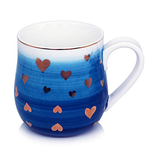 - 15 oz Coffee Mugs, Smilatte M105 Heart-shaped Pattern Porcelain Cup for Latte Cappuccino Tea Hot Cocoa Girl Lover Girlfriend,Blue