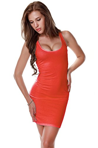 Womens Orange Tank Dress (PINKPHOENIXFLY Women's Sexy Low Cut Cotton Mini Tank Dress/Vest (X-Large, Orange))