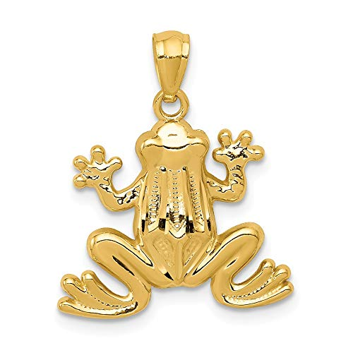 - 14k Yellow Gold Frog Pendant Charm Necklace Animal Man Fine Jewelry Gift For Dad Mens For Him