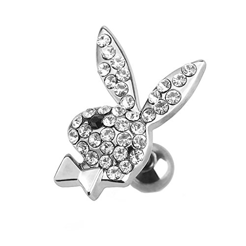 Dynamique Playboy Bunny Multi Paved Gems 316L Surgical Steel Cartilage/Tragus Barbell (Sold per - Mens Earrings Playboy