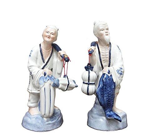 FISHERMAN OLD CHINESE COUPLE STATUE FIGURINE 15