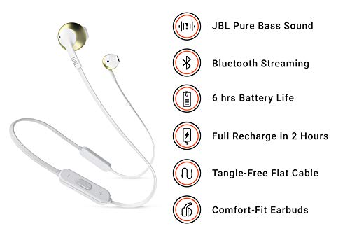 jbl t205bt bluetooth headset with mic  black  in the ear