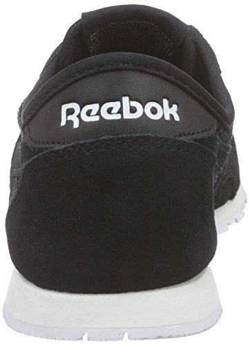 Reebok CL Nylon Slim Mesh Zapatillas de deporte, Mujer Negro / Blanco (Black/White)