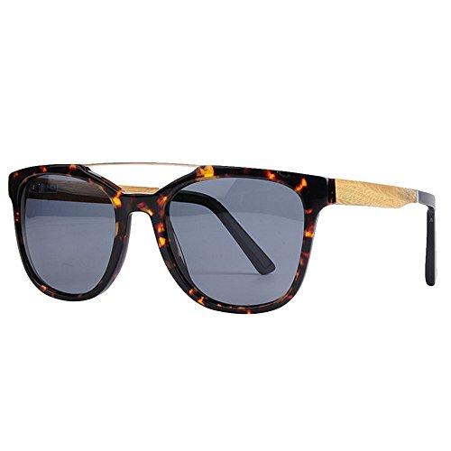 Ojos Protección de polarizadas para Gafas Lente Gafas Playa Pesca Conducción de Retro Fibra de Marco Gato Acetato de TAC Sol al UV Peggy de Mujer Gris Gris Libre Aire Color Sol de Madera Marco Gu n7XY8Y1