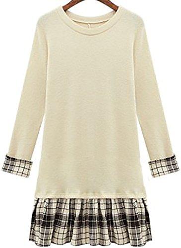 QZUnique-Womens-Plus-Size-Pullover-Sweater-Dress-with-Plaid-Ruffled-Skirt-Hem