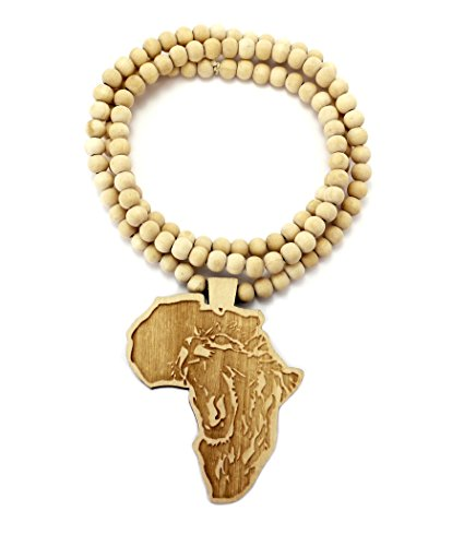 Lion Engraved Africa Wood Pendant 36 Wooden Bead Chain Necklace