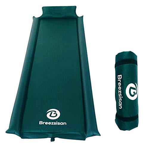 Breezsisan Self Inflating Sleeping Pad with Pillow Armrest. Ultralight Compact Extra Long Insulated pads for:Camping Backpacking travel 4 Season Thick Foam camp mat-Inflatable Camping cot Air Mattress