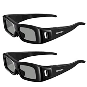 2 Sharp Active Shutter 3D Glasses with 75 hours of continuous use Compatible with LC-60LE745U LC-60C7450U LC-90LE745U LC-60LE845U LC-60C8470U LC-60LE847U LC-70LE745U LC-70C7450U LC-70LE845U LC-70LE847U LC-70C8470U LC-80LE844U
