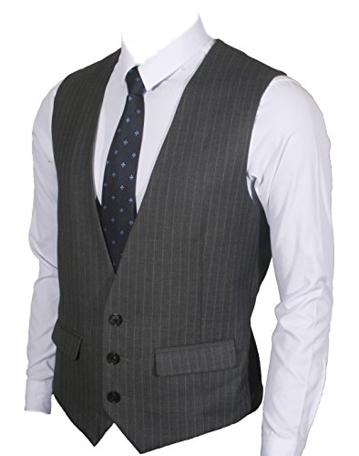 Ruth&Boaz Men's 2Pockets 3Button Business Suit Vest (XL, CHARCOAL PIN STRIPE)