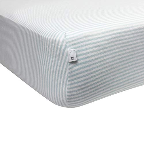 itted Crib Sheet, Boys & Unisex 100% Organic Cotton Crib Sheet For Standard Crib and Toddler Mattresses (Sky Blue Thin Stripes) ()