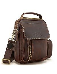 Tiding Vintage Men's Small Crazy Horse Leather Shoulder Bag Satchel Crossbody Handbag Messenger Bag Travel Bag for iPad Mini - with Detachable Strap (Dark Brown)
