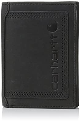 Carhartt Men's Top Grain Leather Trifold Wallet, Contrasting Stitch