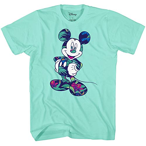 - Disney Mickey Mouse Tropical Mint Green Disneyland World Tee Funny Humor Youth Graphic T-Shirt Apparel (Mint, Large (18))