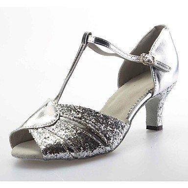 XIAMUO Anpassbare Damen Tanz Schuhe Ballsaal/Latin Leder/funkelnden Glitter angepasste Ferse Silber, Silber, Us3.5/EU33/UK1.5/CN32