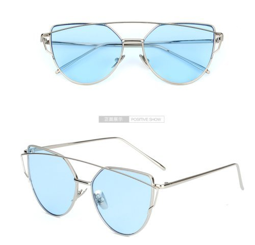 JUJU MALL-Women's Glasses Metal Flat Lens Vintage Mirrored Oversized - Sunglasses Poc Buy