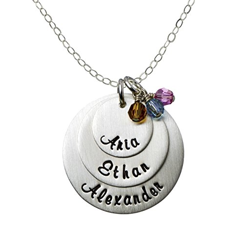 AJ's Collection My Three Joys Personalized Sterling Silver Name Necklace. Customize with Your Choice of Names. Matted Finish. 3 Swarovski Birthstones. Includes 925 Chain. Gifts for Her, Mother, Wife
