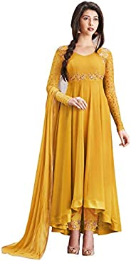 Divine International Trading Co Women's Anarkali Faux Georgette Embroidery Semi-Stitched Salwar Suit Dupat