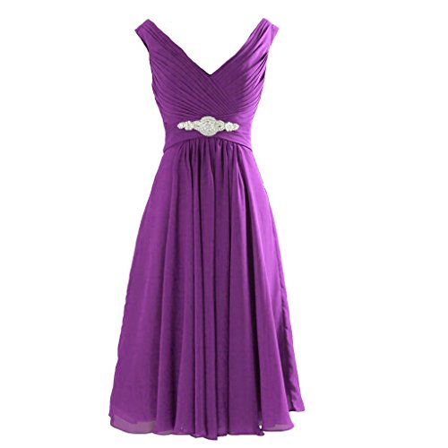 Kivary Short Knee Length A Line V Neck Prom Dresses Wedding Party Cocktail Gowns Purple US 10