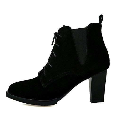 BalaMasa Womens No-Closure Solid Pointed-Toe Microfiber Boots Black Mn4YbwOl3U