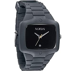 NIXON Player Square Black-Tone Dial Rubber Quartz Men's Watch