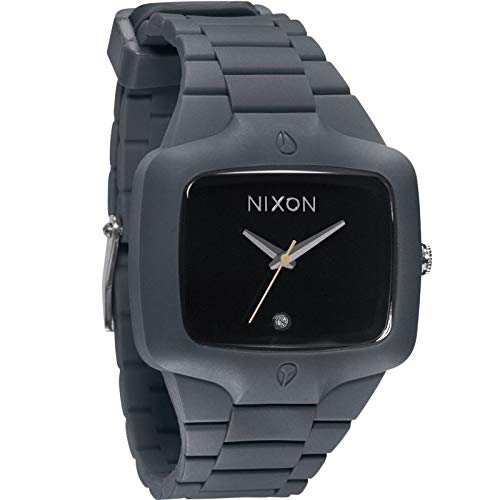 NIXON Player Square Black-Tone Dial Rubber Quartz Men's Watch