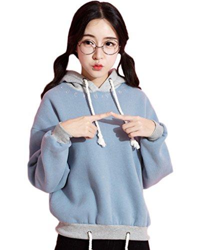 Minetom Mujer Moda Otoño Invierno Sudaderas Con Capucha Manga Larga Capa Estilo Casual Outwear Hoodies Chaqueta Azul