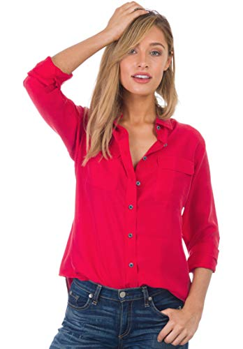 - CAMIXA Womens 100% Silk Blouses Ladies Shirt Casual Pocket Button up Elegant Top XXL Washed Red