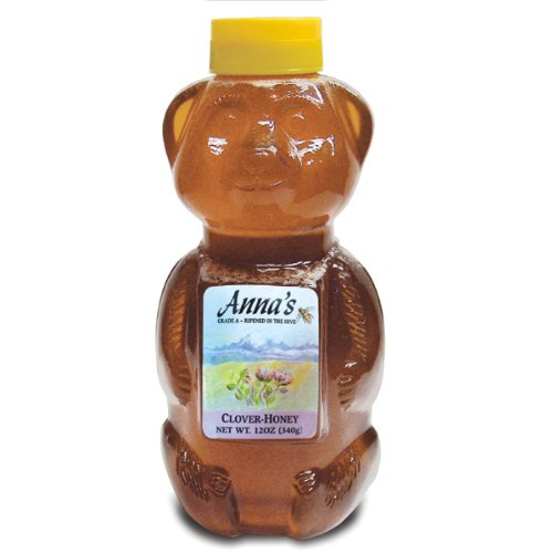 Clover Honey Bear Bottle, 12 oz - Grade A, Natural Honey - by Anna's Honey (Pack of (Annas Honey)