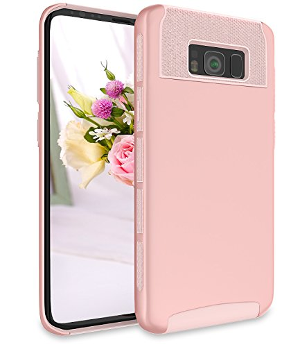 Galaxy S8 Plus Case, ADCOOG 2 in 1 [Shockproof] Anti-Scratch Slim Hybrid Hard PC TPU Bumper Protective Case Cover for Samsung Galaxy S8 Plus(Rose Gold)