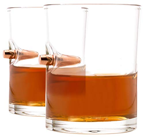 .308 Real Solid Copper Projectile Hand Blown Old Fashioned Whiskey Rocks Glass Set of 2