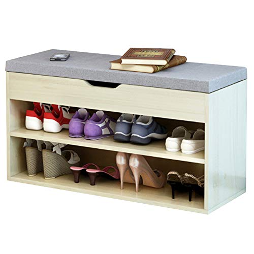 Maple Living Room Cabinet - FKUO Shoe Rack Bench Double-Layer Storage Cabinet,Shoe Organizer,Storage Shelf,Holds Up to 150KG,Ideal for Entryway Hallway Bathroom Living Room and Corridor(80cm, Sakura Maple Wood Grey A)