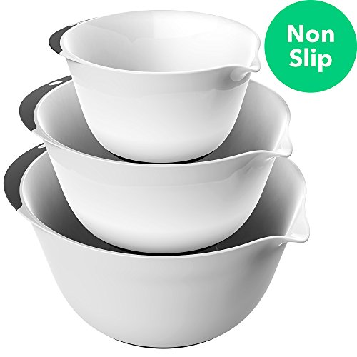 Vremi 3 Piece Plastic Mixing Bowl Set - Nesting Mixing Bowls with Rubber Grip Handles Easy Pour Spout and Non Slip Bottom - Three Sizes Small Large Capacity for Kitchen Baking Salad - White and Black Black Handle Round Bowl
