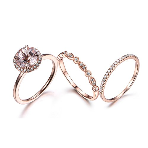 Morganite Wedding Ring Set Round Cut Halo 14k Rose Gold Diamond Stacking Band Bridal Anniversary Promise