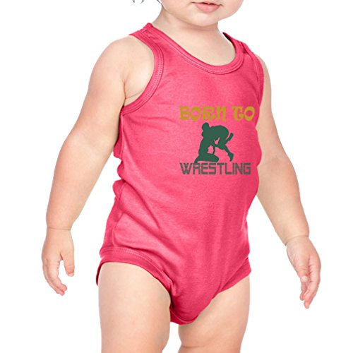 Born to Wrestling Sport Combed Ring-Spun Cotton 3/8 Neck Band Unisex Infant Bodysuit One Piece - Hot Pink, 18 Months by Cute Rascals