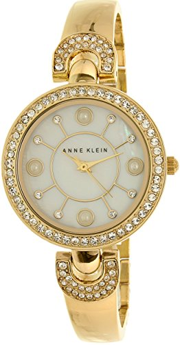 Anne Klein Women's AK/1960GBST Swarovski Crystal-Accented Gold-Tone Bangle Watch and Bracelet (Accented Bangle Bracelet)
