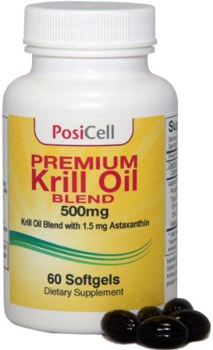 Mélange huile de krill Azantis Premium avec astaxanthine, 500 mg, 60 gélules