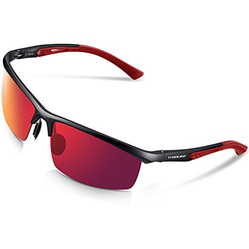 Woolike Men's Sports Style Polarized Sunglasses For Cycling Running Fishing Driving Golf Unbreakable Al-Mg Frame Metal Glasses W819 (Black frame&Red - Winter Sunglasses