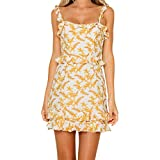 Halter Dresses for Women丨Summer Casual Sleeveless Boho Floral Spaghetti Strap A-Line Beach Dress丨Womens Loose Mini Dress(Yellow,XL)