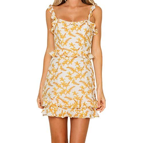 Halter Dresses for Women丨Summer Casual Sleeveless Boho Floral Spaghetti Strap A-Line Beach Dress丨Womens Loose Mini Dress(Yellow,XL) by HULKAY (Image #1)