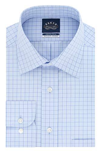 Eagle Men's Dress Shirt Non Iron Stretch Collar Regular Fit Check, Hazy Blue, 17