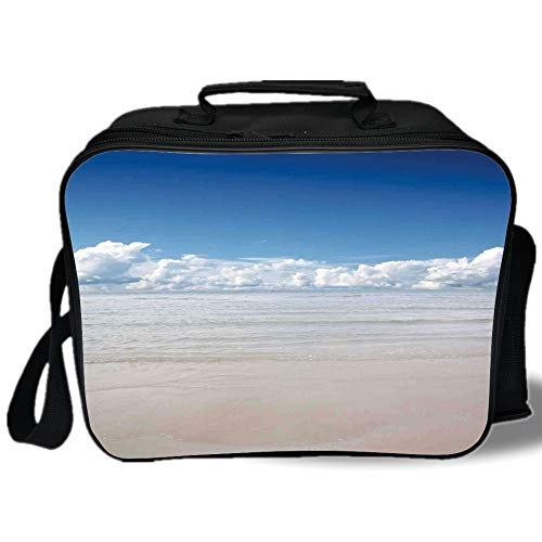 (Insulated Lunch Bag,Ocean,Magical Sea to Sky View with Clouds Nature Exotic Beach in South Asia Paradise Hot,Blue White Cream,for Work/School/Picnic, Grey)