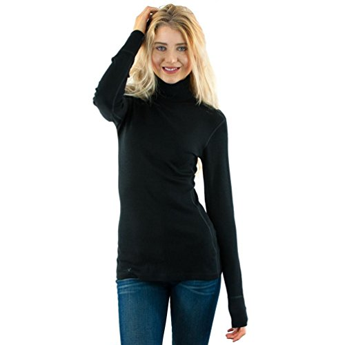 - Woolx Womens Peyton Warm & Soft  Midweight Merino Wool Turtleneck Sweater , Black, Large
