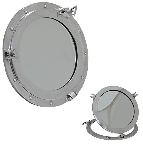Brass Nautical Marine Porthole Mirror - 12 inch Aluminum Finish