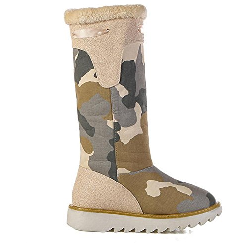 Camouflage Thick Snow slip Flat Knee Comfortable Boots BEIGE Warm EUR39UK665 Winter NVXIE Leisure Womens Denim Outdoor High Keep bottom Non Fall xqn7w