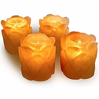 Hypnotic Gems Gallery: Pack of 4 Premium Quality Date Shaped Himalayan Salt Candle Holder - Natural Air Purifying Hand Carved Tealight Salt Lamp - Completely Natural Ionic Air Purifier